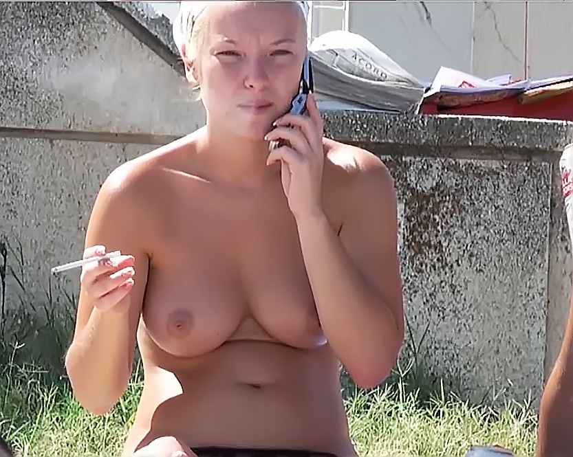 Topless Girl Latina Sunbathing