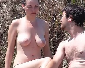 Teeny Girle Model Stripped To The Waist On A Nude Strand Taking Her Pants Off