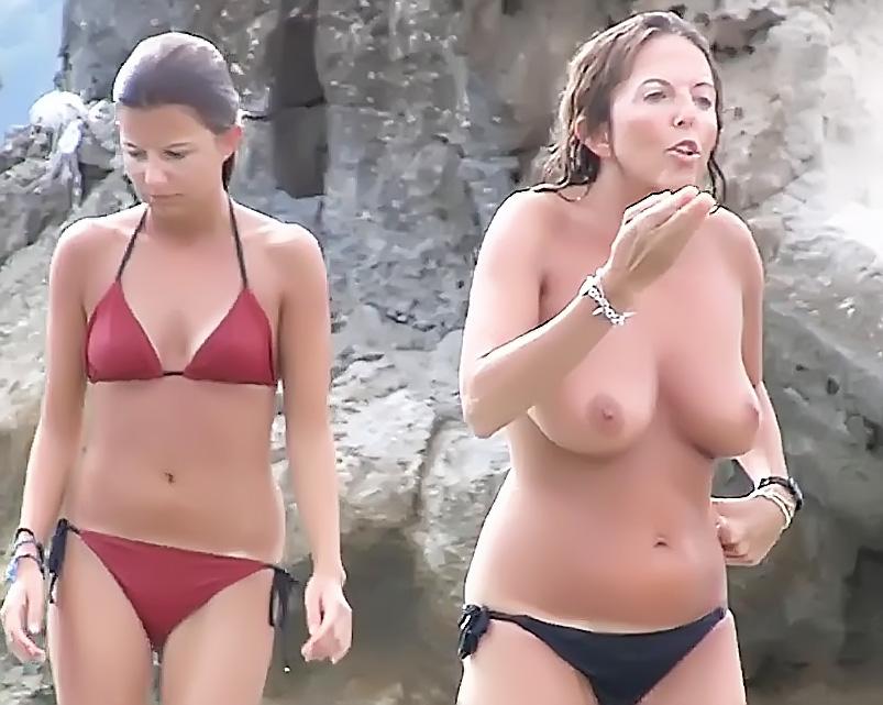 Bare-Breasted Girls On Strand Voyeur Hidden Cam