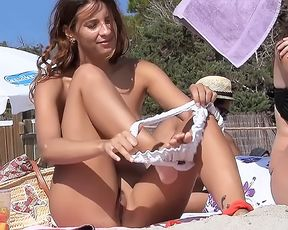 Young Braless Teens On Barcelona Spanish Plage