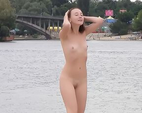 Nude Beach - Hot girl Posing on the Shore