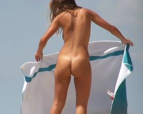 Amazing youthful naturists touch each other's bodies