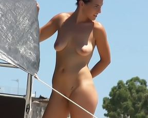 Amateur make fun at a nude plage