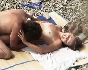 russian couple having sex on the beach