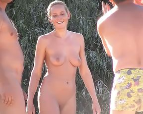 Busty sexy chicks group on naturist plage 2