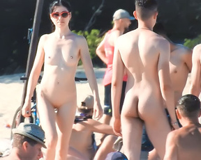 """A day at the nude beach when it was """"warm enough"""" for the exhibitionist to strip!"""